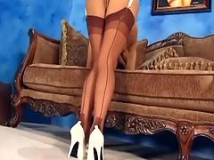 Teasing and fingering in sexy thigh high nylons