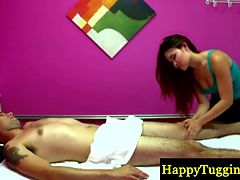 Beautiful masseuse gets paid for handjob