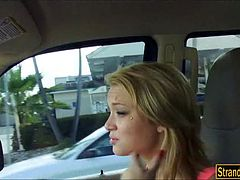 Dakota walks the streets with a cumface after shes fucked in the car