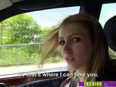 Pretty Beatrix gets on a car with a guy gets fucked on the roadside