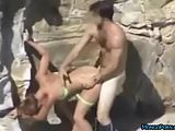Amateur Doggystyle Quickie Public Beach