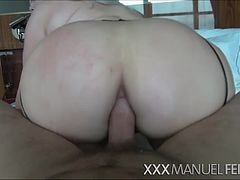 Klaudia teases Manuel with her gigantic boobs and she gets hardcore ramming