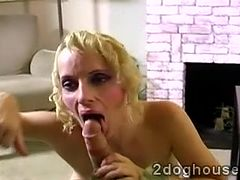 Big boobed blonde MILF takes care of a hefty meatbone