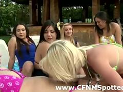 Public humiliation for amateur man by CFNM women at pool
