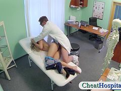 Gorgeous blonde girl fucked by a fake doctor in his hospital