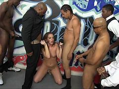 Very tight whore Maddy Oreilly deepthroating black dicks