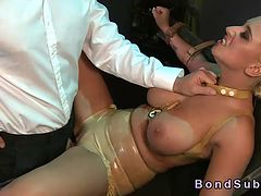 Huge breasts blonde slave banged in bdsm